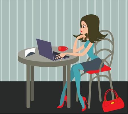 vie �tudiante: Jeune femme avec le portable dans un caf� Illustration
