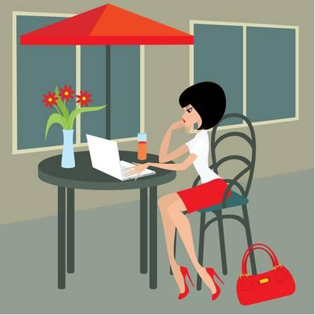 mujeres sentadas: Mujer joven con el port�til en el caf�