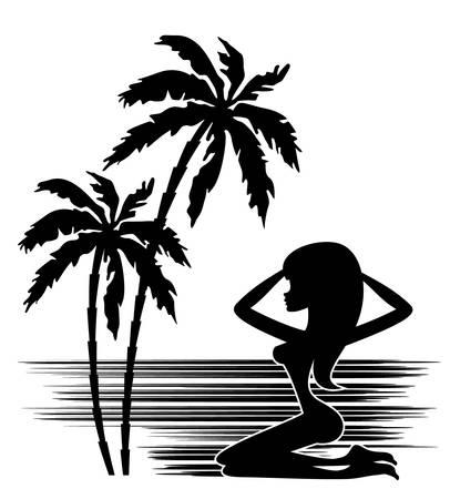 Trópusokon. A pálmafa és nő sziluettje fehér alapon