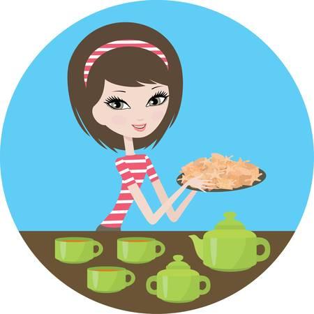 Chica linda con las cookies