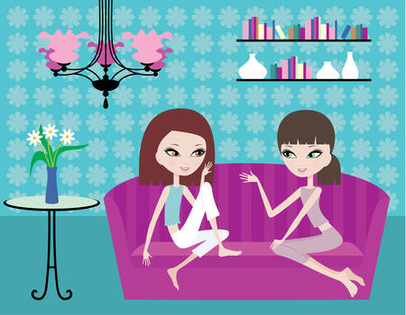 Two girls talk on a sofa