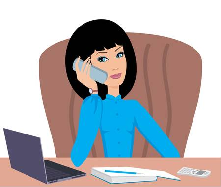 sitting at table: Business woman speaks on the phone