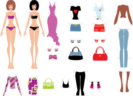 Paper dolls with clothes Stock Vector - 11113141