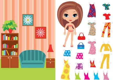 paper doll: Paper doll with a set of clothes and a room
