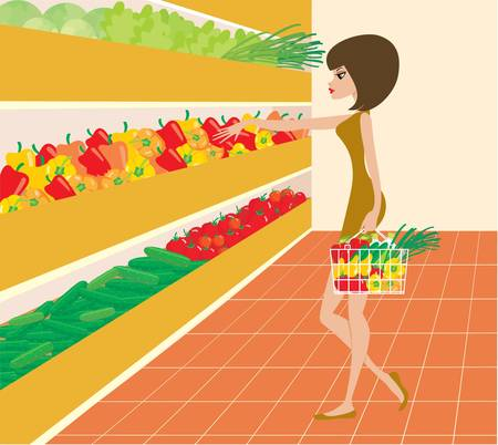 foodstuffs: Woman in a supermarket