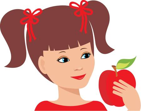 Little girl with an apple Stock Vector - 11113096