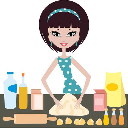 kneading: Young woman prepares dough Illustration
