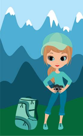 hiker: Stock Vector Illustration: