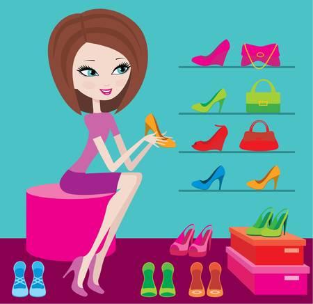 shopping centre: Shop of female footwear Illustration