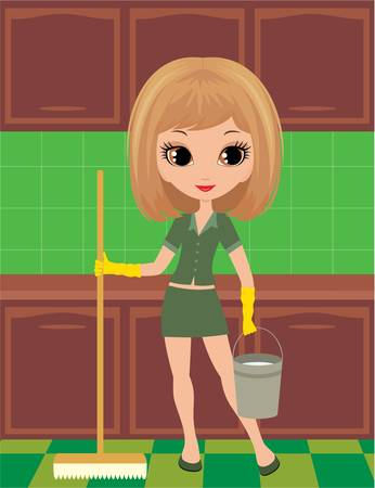 Girl cleans in rubber gloves Vector