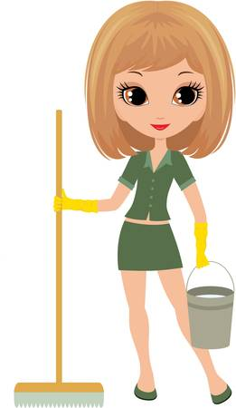 mop: Girl the cleaner on a white background Illustration