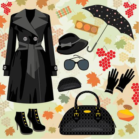 autumn fashion: Autumn fashion set Illustration