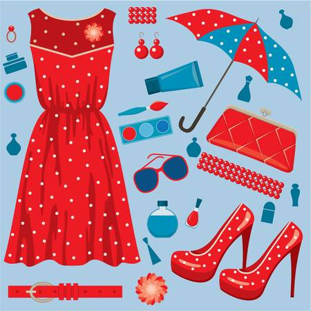 Paper doll with clothes set Иллюстрация