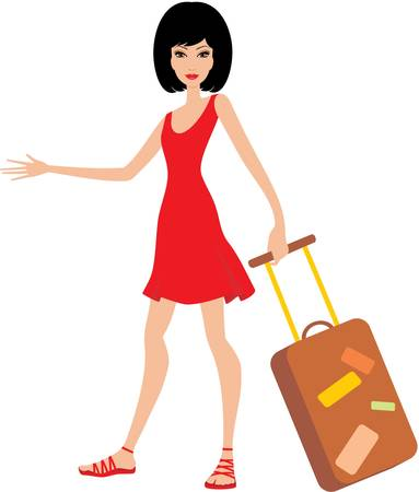 suitcase packing: Woman with a suitcase in a red dress