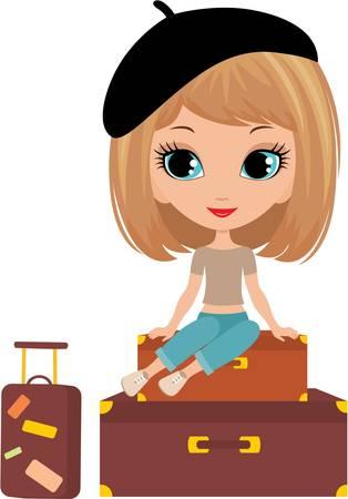 mujer con maleta: Niña bonita se sienta en una maleta Vectores