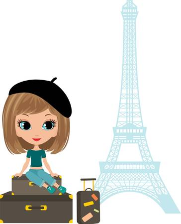 french girl: Pretty girl sits on a suitcase against Tour d Illustration