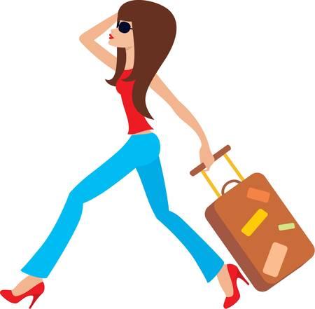 mujer con maleta: Joven corre con una maleta