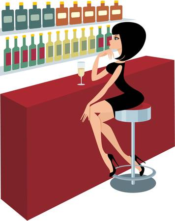 Young woman sits at a bar counter Vector