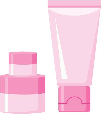 pink cap: Cosmetic plastic containers