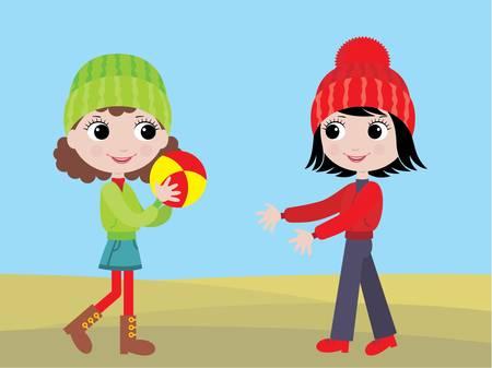 Little girls play a ball Stock Vector - 11113073