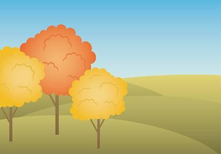 seasonal forest: Autumn landscape Illustration