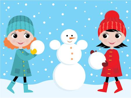 Little girls build the snowman Vector