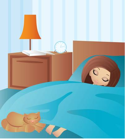 woman sleep: Woman cartoon sleeps Illustration
