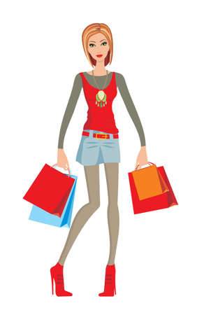Young woman makes shopping Stock Vector - 11113115