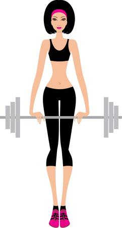 weightlifting: Woman with a fitbar