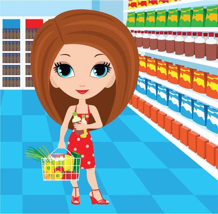 beauty product: Woman cartoon in a supermarket Illustration