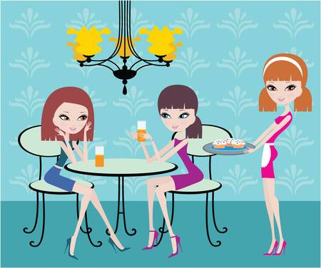 Friends in cafe and the waitress Stock Vector - 11113040