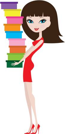 Young woman with shoe boxes Vector