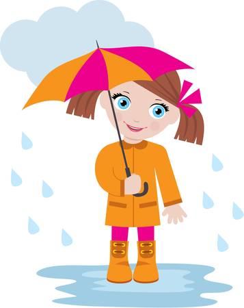 cartoon umbrella: Little girl under an umbrella