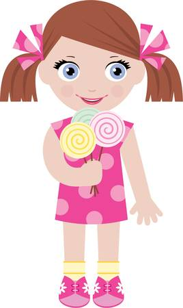 ragazza: Bambina con caramelle di zucchero Vettoriali