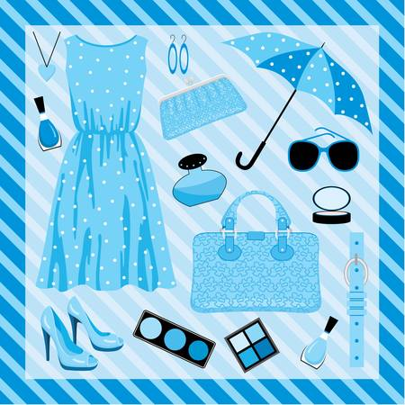 Fashion set in blue tones Vector