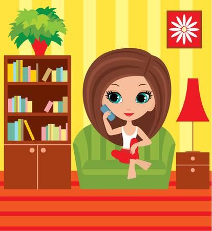 red couch: Cartone animato ragazza parla al telefono Vettoriali