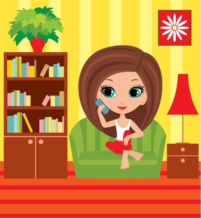 Girl cartoon speaks on the phone Vector