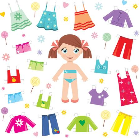 Paper doll with clothes set Vector