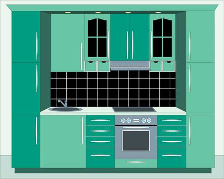 Kitchen furniture. Interior Vector