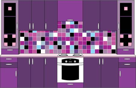 living room design: Interior. Kitchen in violet tones