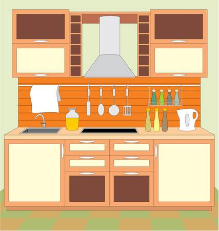 kitchen illustration: Kitchen furniture. Interior