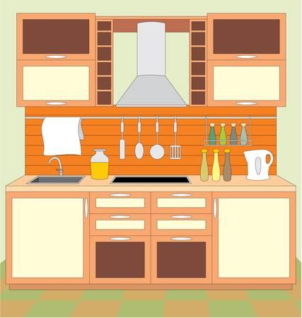 jídelna: Kuchyňský nábytek. Interiér