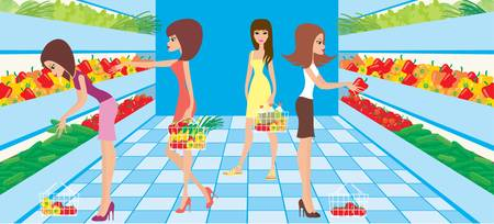 beauty product: Women choose vegetables in a supermarket