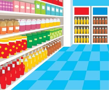 grocery shelves: Supermarket