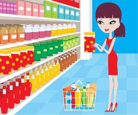 Woman cartoon in a supermarket Stock Vector - 11227635