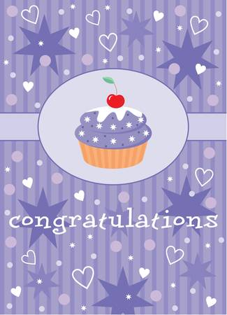 Card with a cupcake. Vector