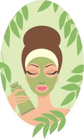 pamper: Woman with facial mask