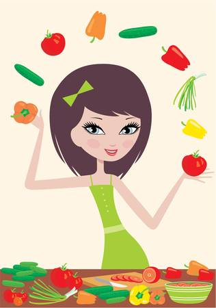 beautiful salad: Pretty girl prepares salad and juggles with vegetables