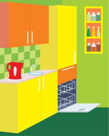 Kitchen furniture. Interior. Stock Vector - 11227687