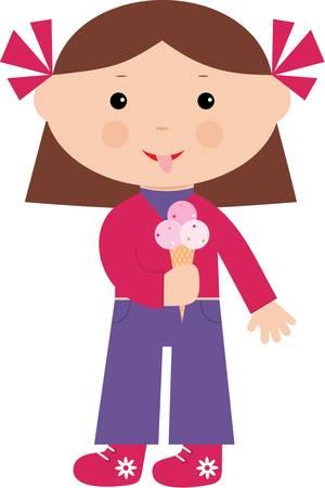 eats: Little girl eats ice-cream